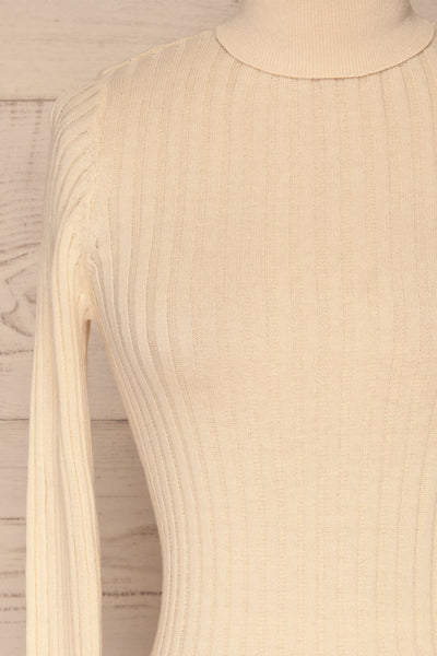 Tomsk Cream Turtleneck Top | Haut | La Petite Garçonne front close-up