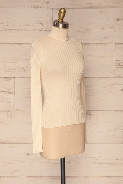 Tomsk Cream Turtleneck Top | Haut | La Petite Garçonne side view