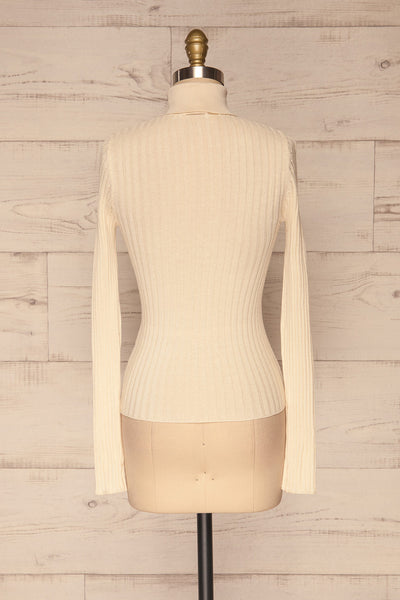 Tomsk Cream Turtleneck Top | Haut | La Petite Garçonne back view