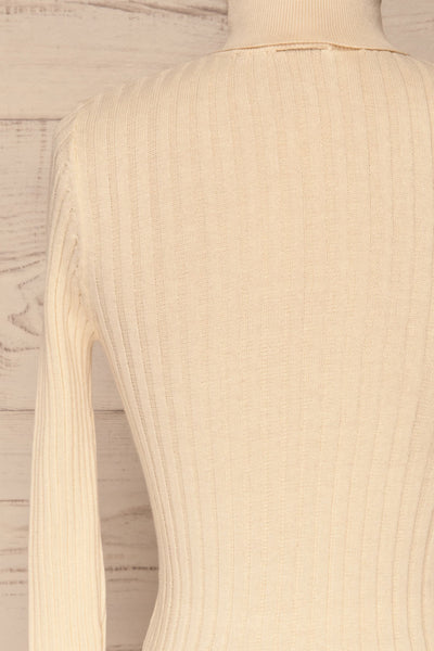 Tomsk Cream Turtleneck Top | Haut | La Petite Garçonne back close-up