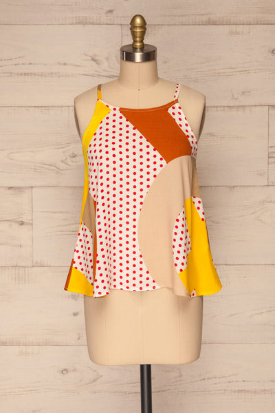 Tomyris White Patterned Sleeveless Top | La petite garçonne front view