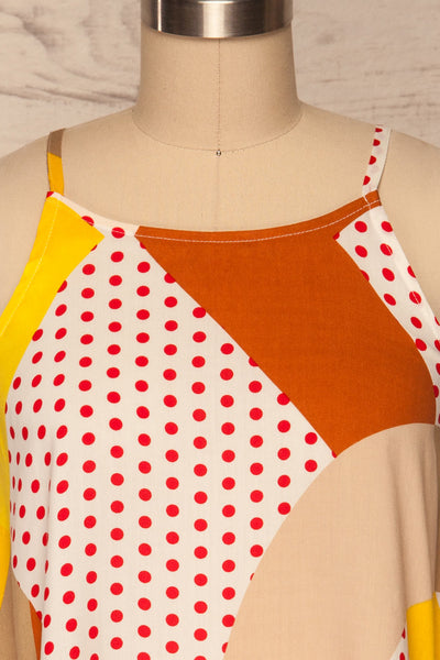 Tomyris White Patterned Sleeveless Top | La petite garçonne front close up