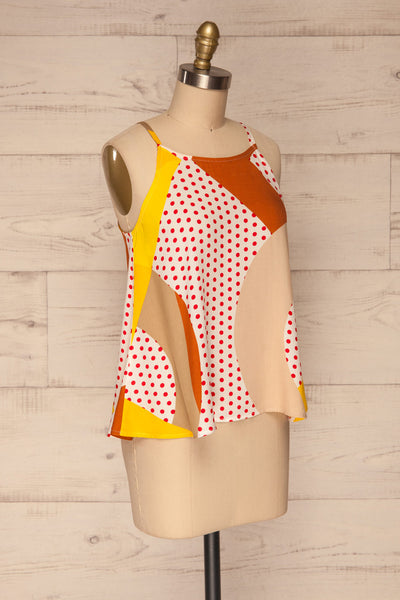 Tomyris White Patterned Sleeveless Top | La petite garçonne side view