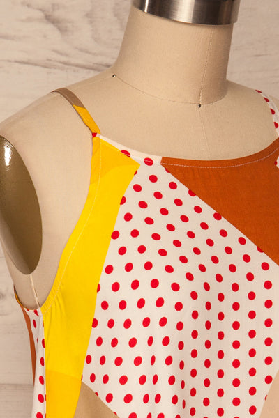 Tomyris White Patterned Sleeveless Top | La petite garçonne side close up