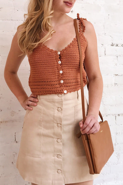 Almelo Rust Orange Crocheted Crop Top | La Petite Garçonne on model