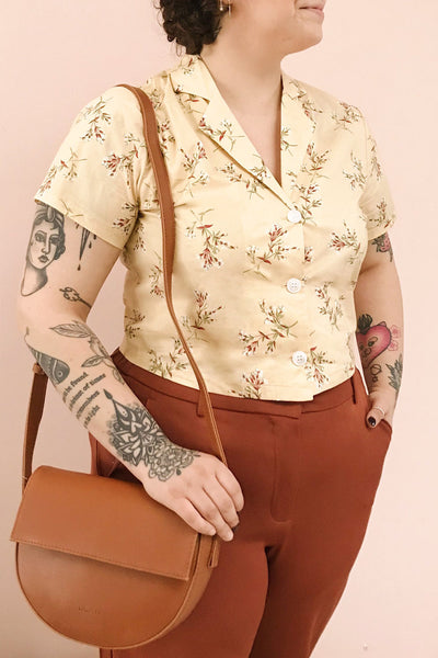 Arnleif Beige Floral Buttoned Crop Top | Boutique 1861 on model 2