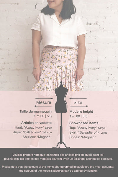 Balsadiero Pink Lemon Print Frills Short Skirt | Boutique 1861 template