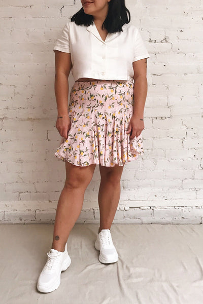 Balsadiero Pink Lemon Print Frills Short Skirt | Boutique 1861 on model