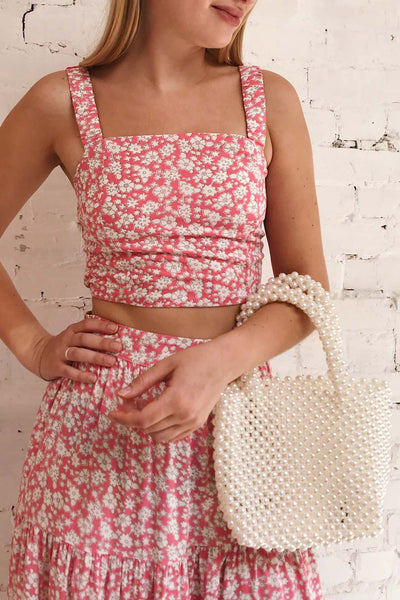 Bahuli Pink & White Floral Crop Top | Boutique 1861 on model