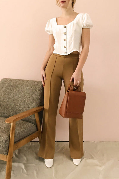 Casita Rust Orange High-Waisted Pants | La petite garçonne on model