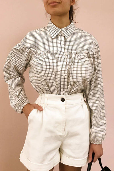Cavertul White & Black Checkered Shirt | La petite garçonne close up