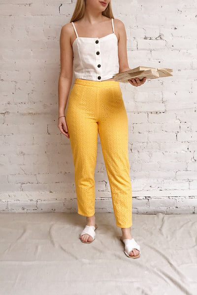 Klobuck Yellow Openwork Straight Leg Pants | La petite garçonne model look 1
