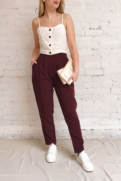 Wynne Garnet Burgundy High Waist Pants | La petite garçonne model look