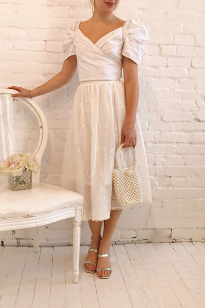 Sioban White High-Waisted Openwork Midi Skirt | Boutique 1861 model look