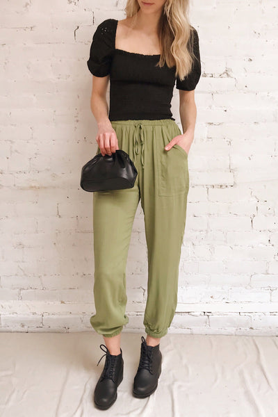 Kmesmi Olive Green High Waist Pants | La petite garçonne  on model