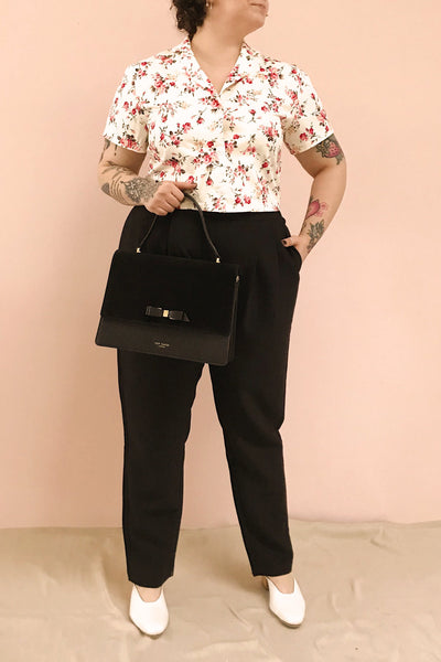 Fuujin White & Pink Floral Buttoned Crop Top | Boutique 1861 model look