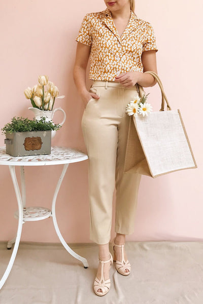 Issie Sesame Cream Straight Leg Pants | La petite garçonne model look