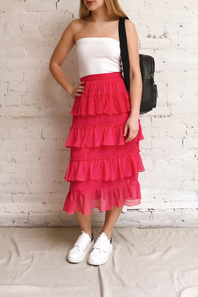 Gova Red Layered Ruffles Festive Midi Skirt | Boutique 1861 model look