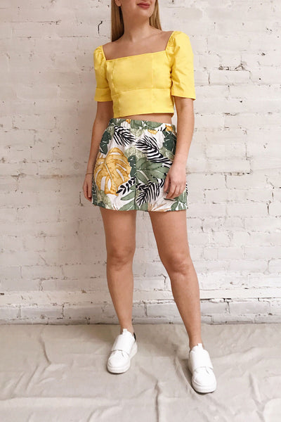 Hosanna Yellow Ruched Short Sleeve Crop Top | Boutique 1861 model look