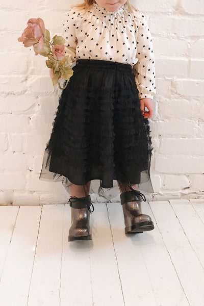 Lamiss Mini Black Ruffled Tulle Kid's Skirt | Boutique 1861 model look