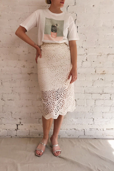 Aubane Cream Lace Midi Skirt w/ Back Slit | Boutique 1861 on model