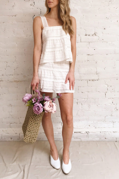Niemodlin White Openwork Short Skirt | Boutique 1861 on model