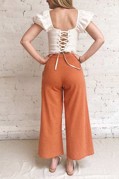Laskowice Orange Wide Straight Leg Pants | La petite garçonne on model