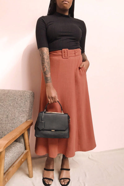 Pelczyce Rust Flared Midi Skirt w/ Belt | La petite garçonne model look