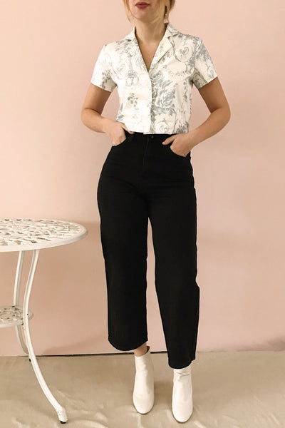 Rucka Black High-Waisted Flare Jeans | La petite garçonne on model