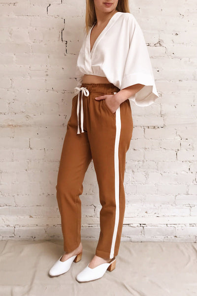 Elevtherai Brown Straight Leg Pants | La petite garçonne model look