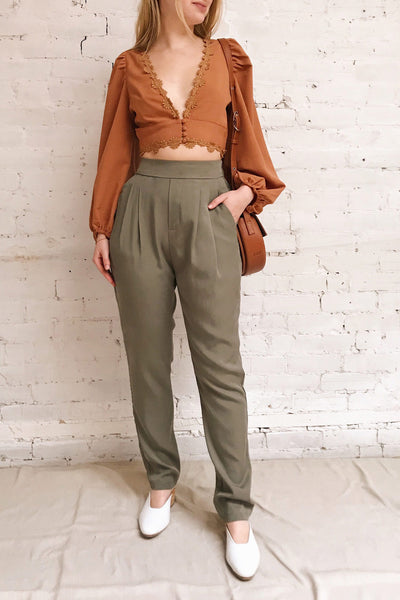 Tintigny Khaki Green Straight Leg Pants | La petite garçonne on model