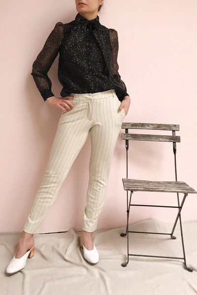 Lillesand Cream Thin Stripes Fitted Pants | La petite garçonne on model