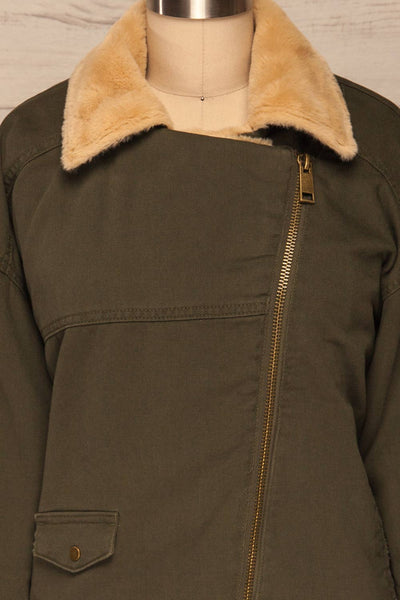 Torino Khaki Green Coat with Faux Fur Collar | La Petite Garçonne front close-up