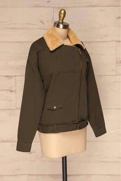 Torino Khaki Green Coat with Faux Fur Collar | La Petite Garçonne side view