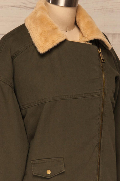 Torino Khaki Green Coat with Faux Fur Collar | La Petite Garçonne side close-up