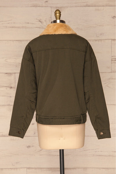 Torino Khaki Green Coat with Faux Fur Collar | La Petite Garçonne back view