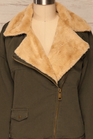 Torino Khaki Green Coat with Faux Fur Collar | La Petite Garçonne front close-up open