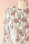 Tracee Pastel Floral Midi Flared Dress | Boutique 1861 front close-up