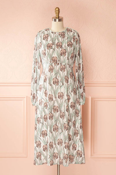Tracee Pastel Floral Midi Flared Dress | Boutique 1861 front view