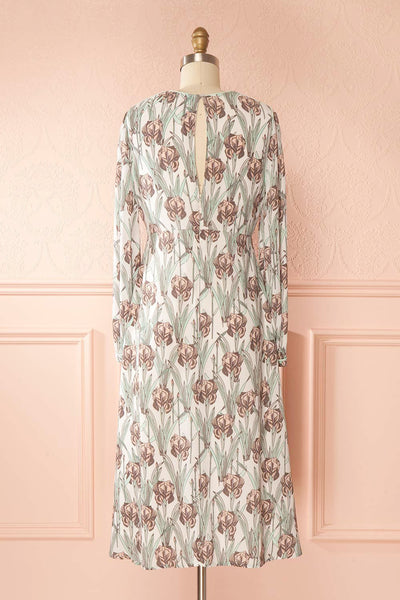 Tracee Pastel Floral Midi Flared Dress | Boutique 1861 back view