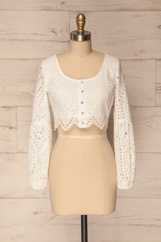 Travancas White Long Sleeved Lace Crop Top | La Petite Garçonne