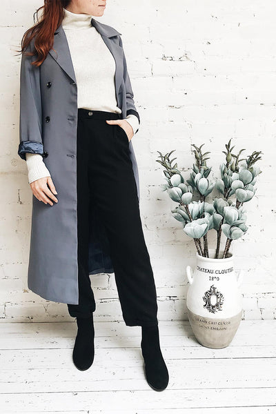 Rallio Black Trench Coat with Belt & Pockets | La Petite Garçonne