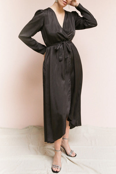 Trieste Dark Grey | Satin Dress