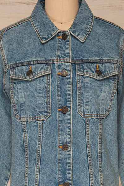 Tripani Light Blue Denim Jacket | Veste | La Petite Garçonne front close-up