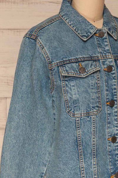 Tripani Light Blue Denim Jacket | Veste | La Petite Garçonne side close-up