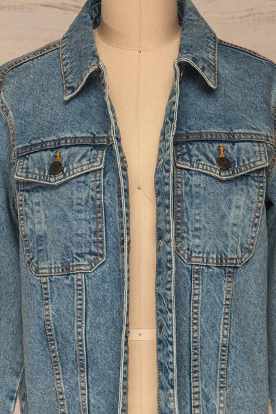 Tripani Light Blue Denim Jacket | Veste | La Petite Garçonne front close-up open