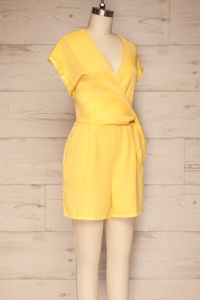 Trujjka Yellow Short Sleeve Wrap Romper | La petite garçonne side view