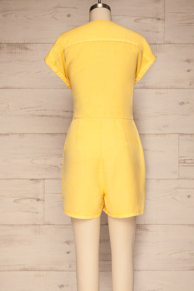 Trujjka Yellow Short Sleeve Wrap Romper | La petite garçonne back view