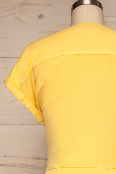 Trujjka Yellow Short Sleeve Wrap Romper | La petite garçonneback close up