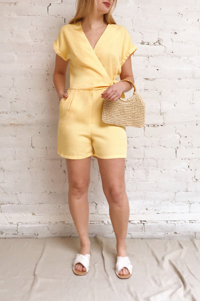Trujjka Yellow Short Sleeve Wrap Romper | La petite garçonne model look
